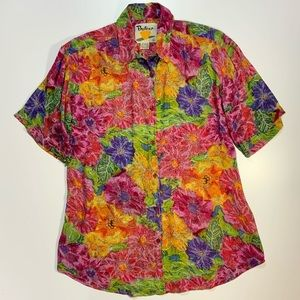 Floral Short Sleeve Button-Front